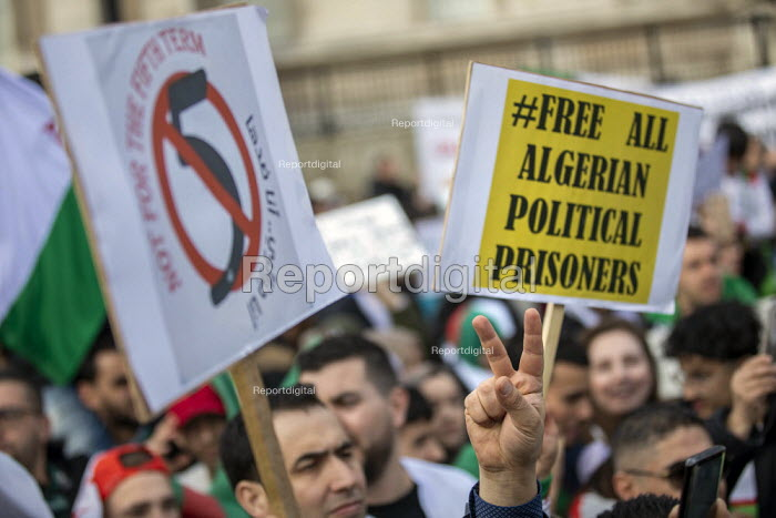 Algerians protest for regime change in Algeria, Westminster, London. Free all political prisoners - Jess Hurd - 2019-03-09