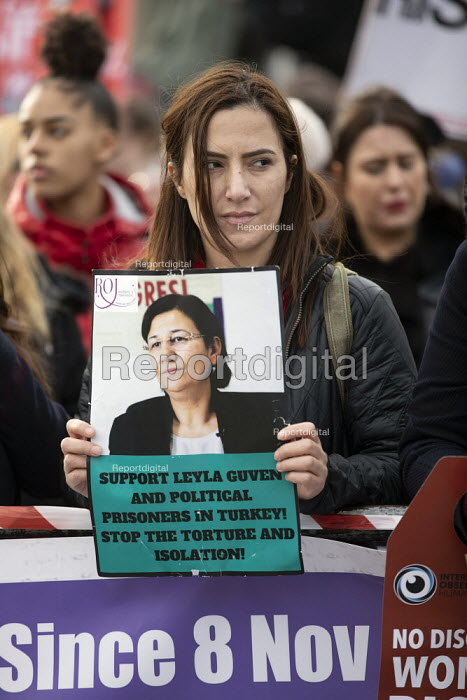 Million Women Rise protest for an end to male violence against women and girls in all its forms , Westminster, London. Support Leya Guven and political prisoners in Turkey. Stop the torture and isolation - Jess Hurd - 2019-03-09
