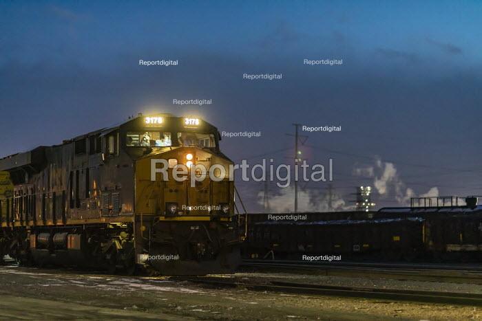 Dearborn, Michigan, USA: CSX locomotive in a railyard, River Rouge industrial complex - Jim West - 2019-03-05