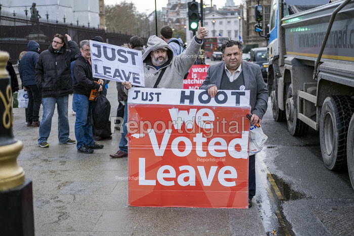 Pro Brexit campaigners protesting outside Parliament during votes on how the UK leaves the European Union, Westminster, London. - Jess Hurd - 2019-03-14
