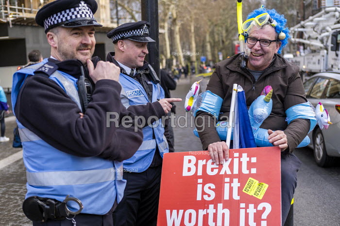 Pro EU campaigner with inflatable unicorns and snorkle protesting outside Parliament during votes on how the UK leaves the European Union, Westminster, London. - Jess Hurd - 2019-03-14
