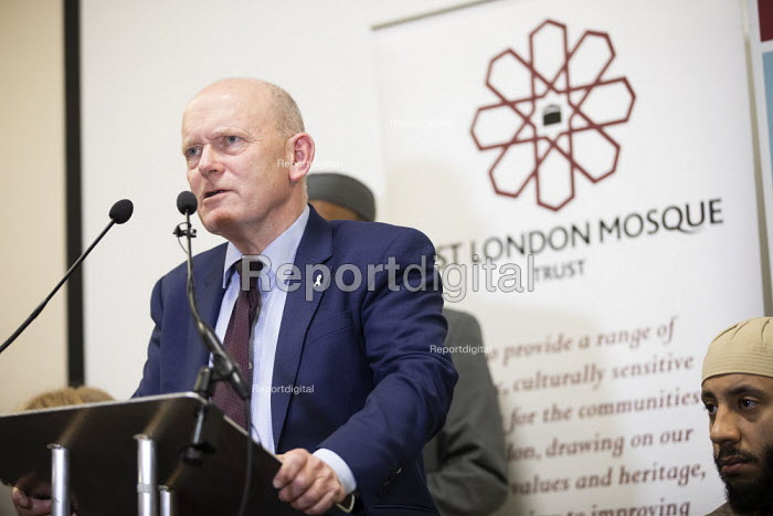 John Biggs speaking, faith leaders and politicians icondemning Islamophobia after the New Zealand Mosque terrorist attacks, East London Mosque, Tower Hamlets, East London. - Jess Hurd - 2019-03-15
