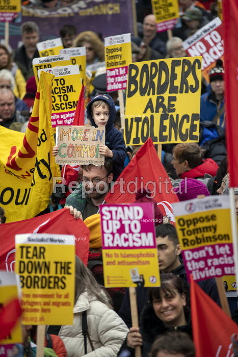 Stand Up to Racism march and rally, London. UN Anti Racism Day, More In Common placard - Jess Hurd - 2019-03-16
