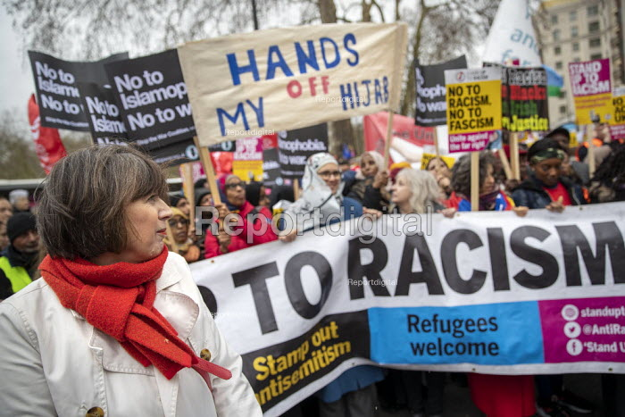 Frances O'Grady TUC leading Stand Up to Racism march and rally, London. UN Anti Racism Day - Jess Hurd - 2019-03-16