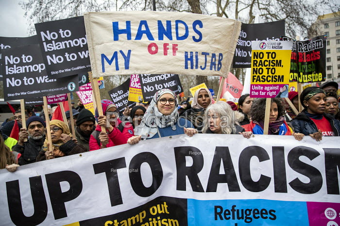 Stand Up to Racism march and rally, London. UN Anti Racism Day, Hands of My Hijab banner - Jess Hurd - 2019-03-16