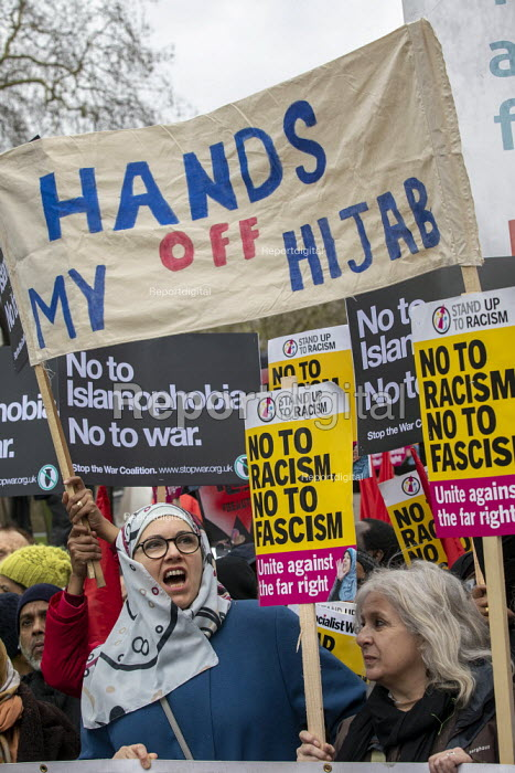 Hands of My Hijab banner, UN anti racism day, United Against Fascism protest, London. - Jess Hurd - 2019-03-16
