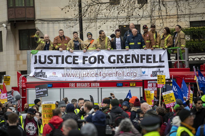 Firefighters supporting Justice for Grenfell, Stand Up to Racism march and rally, London. UN Anti Racism Day - Jess Hurd - 2019-03-16