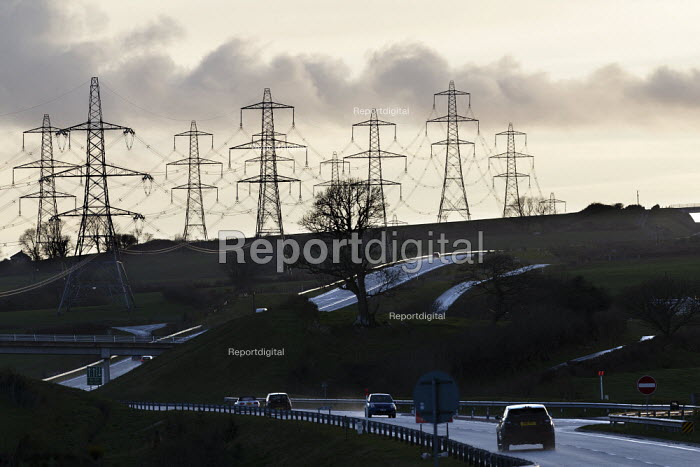 Electricity pylons and a dual carriageway, Pembrokeshire, Wales - John Harris - 2019-03-17