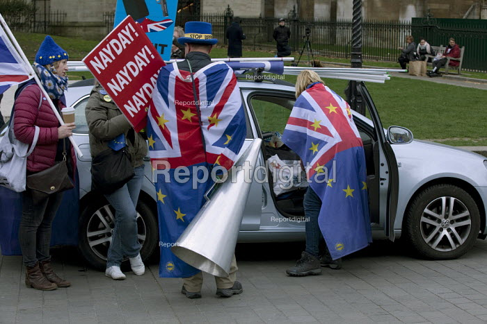 Steve Bray and other anti Brexit protestors shouting No Brexit! down a megaphone as pro Leave MPs are interviewed on TV. In his daily protest he is often heard during TV broadcasts and is known as Mr. Stop Brexit - David Mansell - 2019-03-27