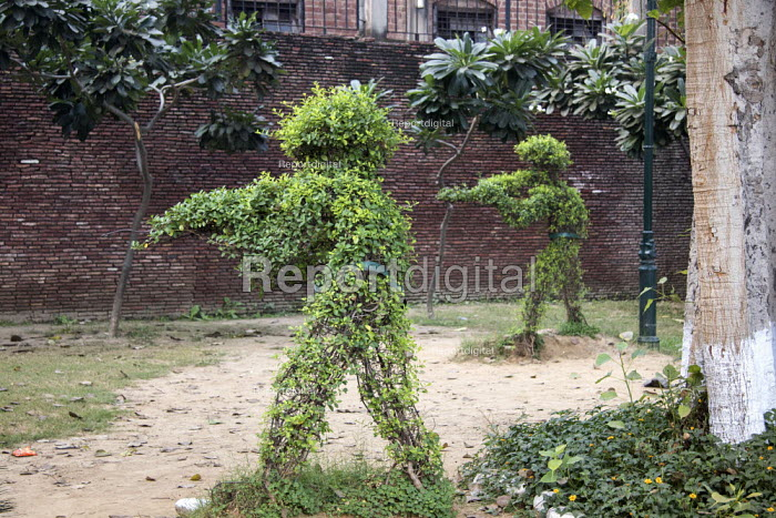 Soldiers shooting topiary, Amritsar massacre site, Jallianwala Bagh, India. Troops of the British Indian Army under the command of Colonel Reginald Dyer fired rifles into a crowd of Indians who had gathered in the park, Jallianwala Bagh, Amritsar, Punjab on 13 April 1919. The civilians had assembled for a peaceful protest to condemn the arrest and deportation of two national leaders - Martin Mayer - 2018-10-31