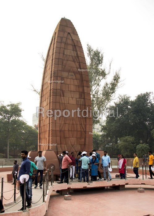 Monument to dead of The Amritsar massacre, Jallianwala Bagh, India. Troops of the British Indian Army under the command of Colonel Reginald Dyer fired rifles into a crowd of Indians who had gathered in Jallianwala Bagh, Amritsar, Punjab on 13 April 1919. The civilians had assembled for a peaceful protest to condemn the arrest and deportation of two national leaders. The memorial was designed by American architect Benjamin Polk - Martin Mayer - 2018-10-31