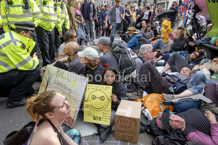 Police arresting Extinction Rebellion climate change campaigners, occupation of Oxford Circus, London - Philip Wolmuth - 2019-04-18