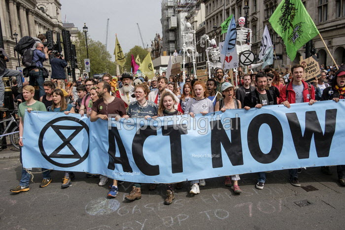 Extinction Rebellion climate change protest from Marble Arch arriving at Parliament Square, London - Philip Wolmuth - 2019-04-23