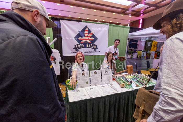 Mt. Pleasant, Michigan, USA, Free Green exhibiting, 420 Canna Expo, a trade show for companies providing goods and services for the medical and recreational marijuana industry. Free Green is a nonprofit that provides free cannabis education and products to veterans, a role that the Veterans Administration is forbidden to fill. Michigan legalized recreational marijuana in 2018. - Jim West - 2019-04-20