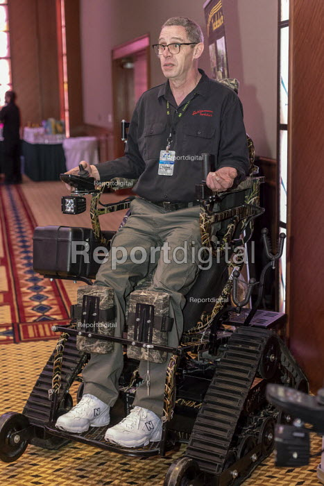 Mt. Pleasant, Michigan, USA, Action Trackstander an all terrain motorized wheelchair built by Action Trackchair for disabled veterans and others who want to remain active outdoors. 420 Canna Expo, a trade show for companies selling goods and services for the medical and recreational marijuana industry. - Jim West - 2019-04-20