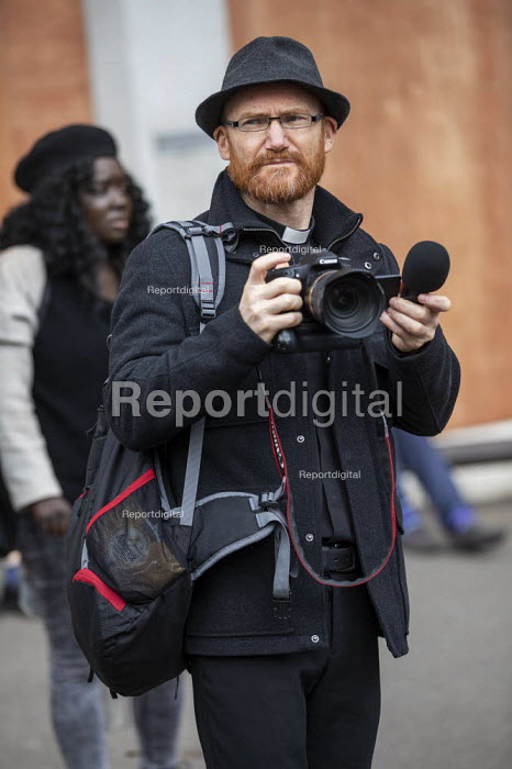 Videographer, CND Anti nuclear war protest Westminster Abbey, London. 500 people took part in a CND protest and Christian CND vigil outside Westminster Abbey to oppose a thanksgiving service to mark 50 years of Britain's Continuous At Sea Nuclear Deterrent - Jess Hurd - 2019-05-03