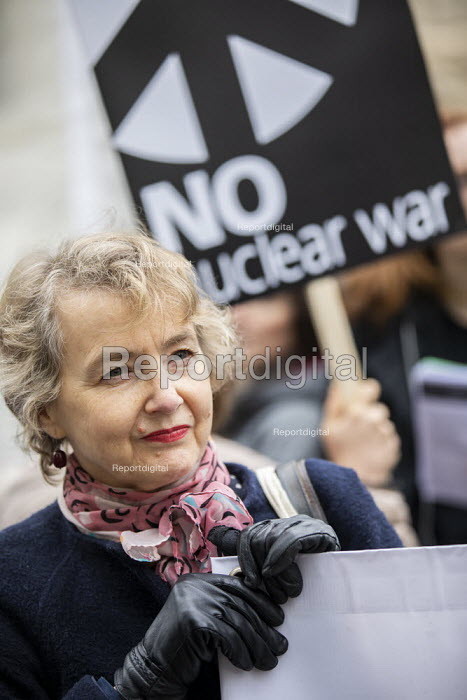 Kate Hudson, CND Anti nuclear war protest Westminster Abbey, London. 500 people took part in a CND protest and Christian CND vigil outside Westminster Abbey to oppose a thanksgiving service to mark 50 years of Britain's Continuous At Sea Nuclear Deterrent - Jess Hurd - 2019-05-03