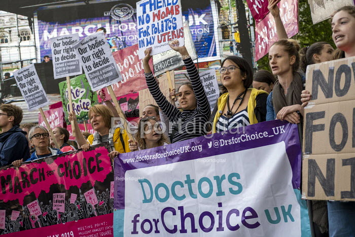 Abortion rights campaigners March for Choice counter the March For Life anti abortion rally, Parliament Square, London - Jess Hurd - 2019-05-11