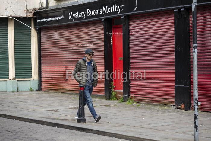 Closed and shuttered shops, High Street, Merthyr Tydfil, South Wales - John Harris - 2019-05-15