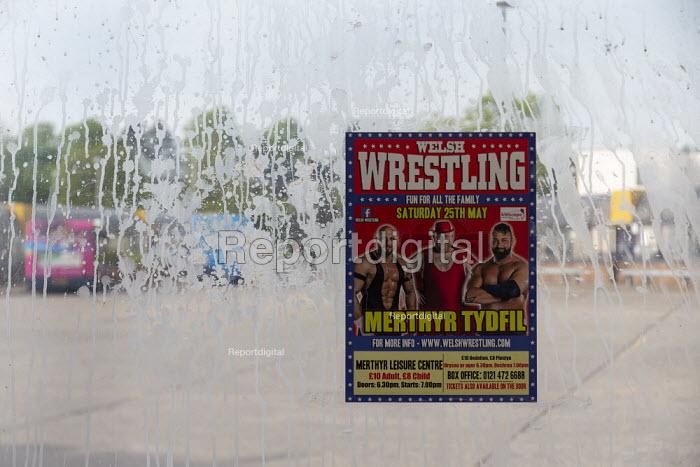 Advertisment for boxing match, Bus station, Merthyr Tydfil, South Wales - John Harris - 2019-05-15