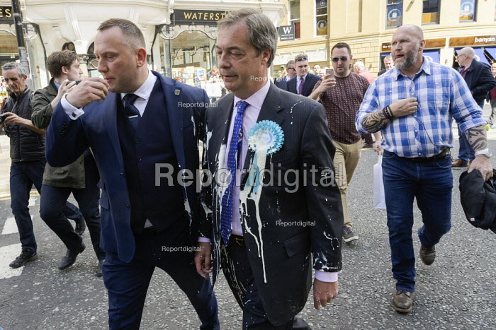 Nigel Farage, after a milkshake was thrown at him, Newcastle Upon Tyne, Brexit Party European parliament elections campaign - Mark Pinder - 2019-05-20