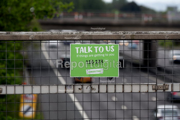 Samaritans sign Talk to Us if things are getting to you, motorway bridge, West Midlands. Their helpline can help those wanting to commit suicide - John Harris - 2019-05-24