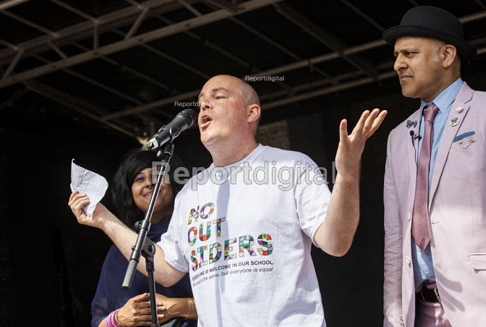 Andrew Moffat, assistant head teacher at Parkfield Community School and pioneer of the No Outsiders programme speaking, Birmingham Gay Pride Parade with LGBT+ Muslim campaigners - Jess Hurd - 2019-05-25