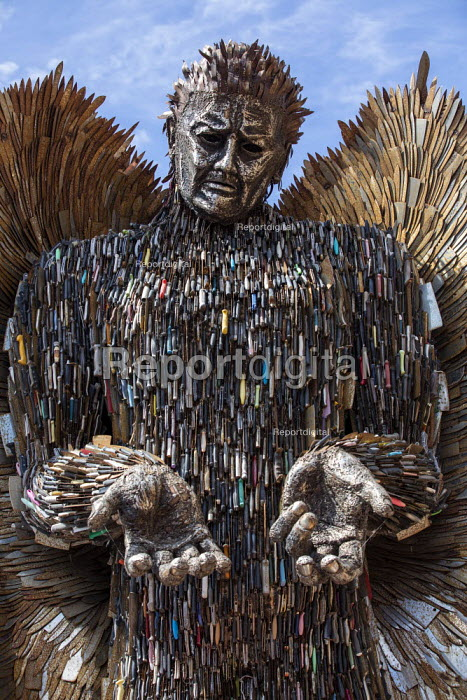 Knife Angel sculpture, a National Monument against Violence and Aggression. Made from confiscated and surrendered knives and weapons from all 43 UK police forces by British Ironwork Centre and artist Alfie Bradley to highlight knife crime, Victoria Square, Birmingham. - Jess Hurd - 2019-05-25