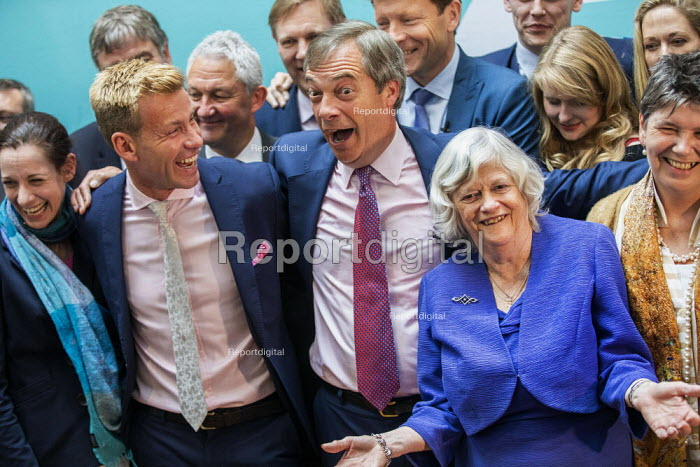 Nigel Farage, Ann Widdecombe, Brexit Party victory press conference, European Elections, London - Jess Hurd - 2019-05-27