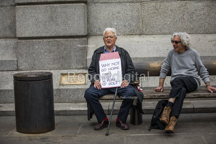 Together Against Trump, stop the state visit protest against Donald Trump, London. Bruce Kent - Jess Hurd - 2019-06-04