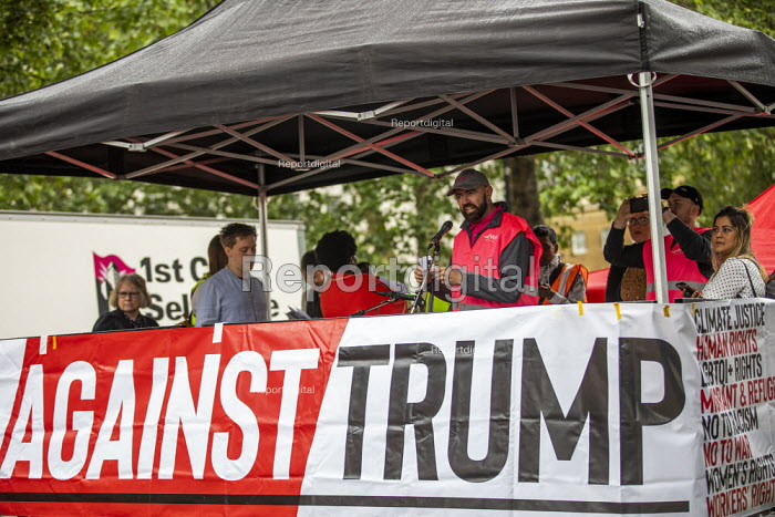 Chris Webb CWU speaking Together Against Trump, stop the state visit protest against Donald Trump, London - Jess Hurd - 2019-06-04