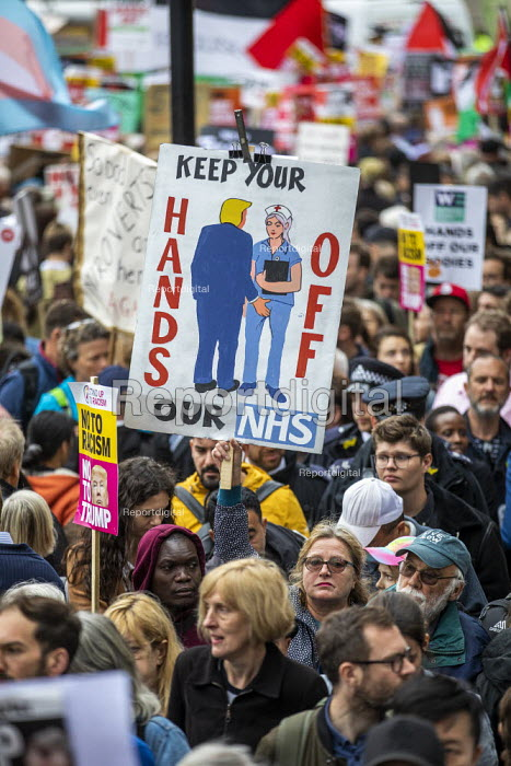 Hands Off Our NHS banner, Together Against Trump, stop the state visit protest against Donald Trump, London - Jess Hurd - 2019-06-04