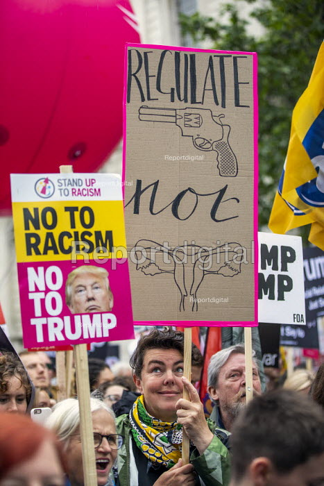 Together Against Trump, stop the state visit protest against Donald Trump, London. Regulate guns not the uterus - Jess Hurd - 2019-06-04