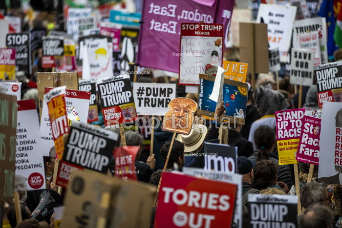 Trump toast placard, Together Against Trump - stop the state visit, protesting against Donald Trump, London. - Jess Hurd - 2019-06-04