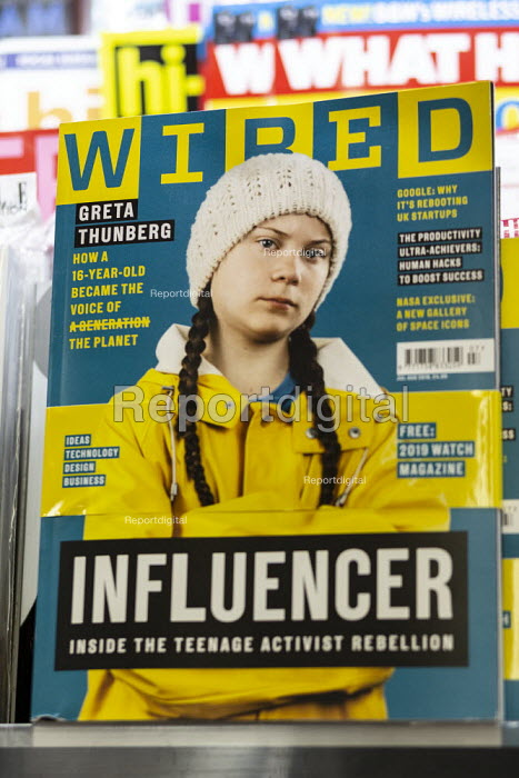 Greta Thunberg Influencer, front cover of Wired magazine on a newsagents shelf. Inside the activist rebellion, How a 16 year old became the voice of the planet - John Harris - 2019-06-16