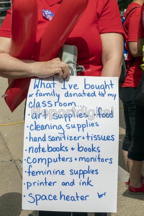 Lansing, Michigan USA: Teachers rally for education funding. NEA and the AFT trades union protest. Placard listing all the materials the teacher has bought for students including food and books - Jim West - 2019-06-18
