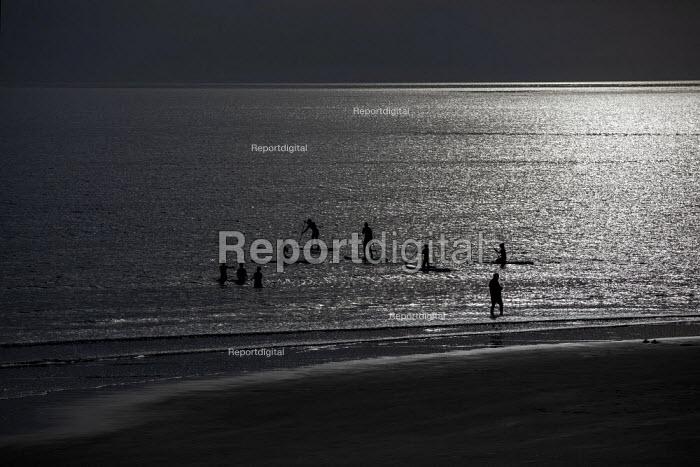 People swimming and board surfing, Tywyn beach, Wales - Jess Hurd - 2019-07-24