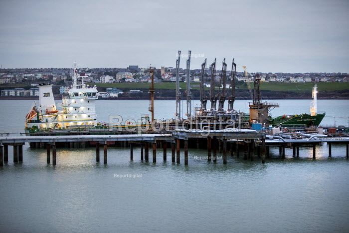 Tanker moored, Valero Oil Refinery jetty, Rhoscrowther, Pembroke, Pembrokeshire - Paul Box - 2017-05-03