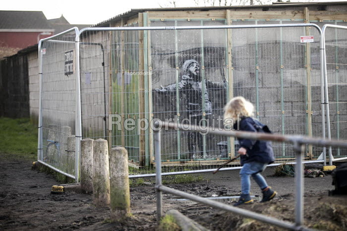 Banksy Graffiti on a garage, Port Talbot, Wales - Paul Box - 2019-02-08