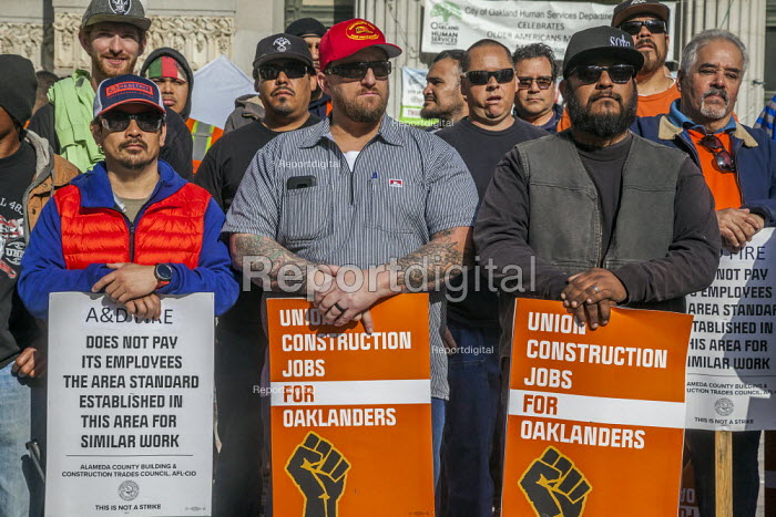 Oakland, California, USA, May Day Construction workers protest non-union construction - David Bacon - 2019-05-01