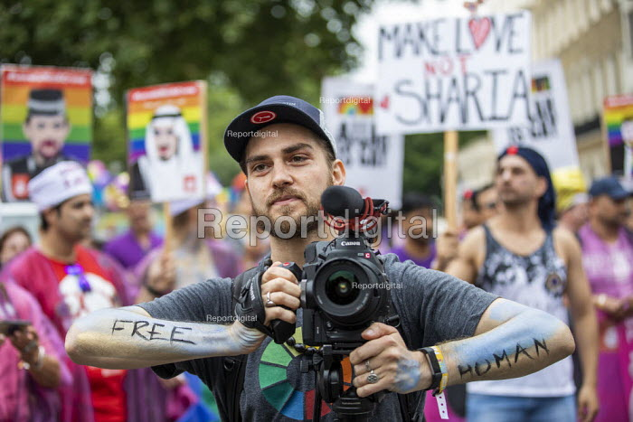 Video journalist filming The Imams of Perpetual Indulgence, Pride in London 2019 - Jess Hurd - 2019-07-06
