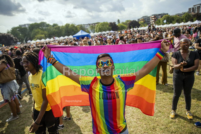 Nazir Uddin, a 22 asylum seeker asking for the government to protect his life. Muslim Asian, Bangladeshi proud gay man, disowned by family and under threat of deportation back to Bangladesh where he is under threat from an Islamic extremist group. UK Black Pride, Haggerston Park, East London. - Jess Hurd - 2019-07-07