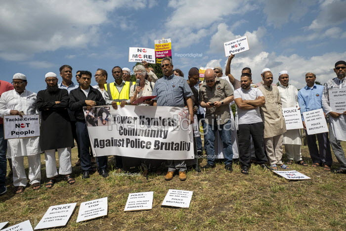 Sheila McGregor local campaigner speaking protest against the brutal arrest of Younass Dentahar, a Moroccan parent of a disabled child on the Aberfeldy Estate, Tower Hamlets, East London - Jess Hurd - 2019-07-12