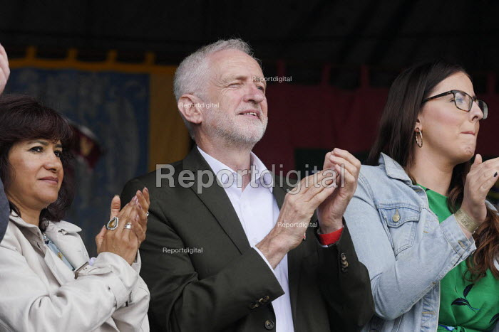 Jeremy Corbyn, Laura Pidcock MP 2019 Durham Miners Gala - Mark Pinder - 2019-07-13