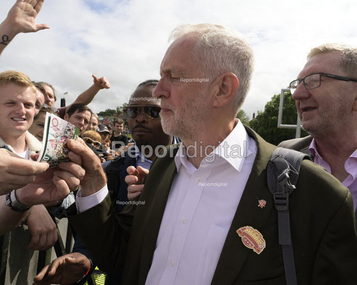 Jeremy Corbyn, Len McCluskey, Unite, 2019 Durham Miners Gala - Mark Pinder - 2019-07-13