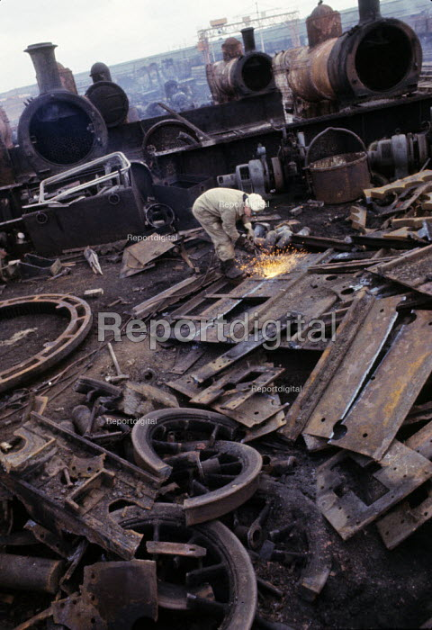 The Death of the Steam Engine 1965. Break up of steam engines in railyard  after their decommissioning on the national rail network due to the introduction of diesel engines. - Michael Taylor - 1965-03-06