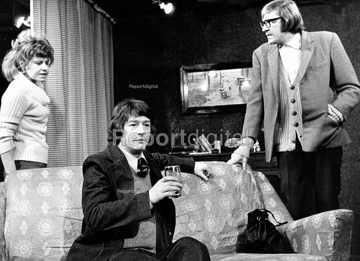 The Ruffian On The Stair by Joe Orton at the Soho Poly London 1973. From L to R Prunella Scales as Joyce, John Hurt as Wilson and David Warner as Mike - Peter Harrap - 1973-12-06