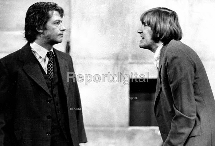The Dumb Waiter by Harold Pinter, Soho Poly Theatre London 1973. David Warner as Gus (L) and John Hurt as Ben (R) - Peter Harrap - 1973-12-05
