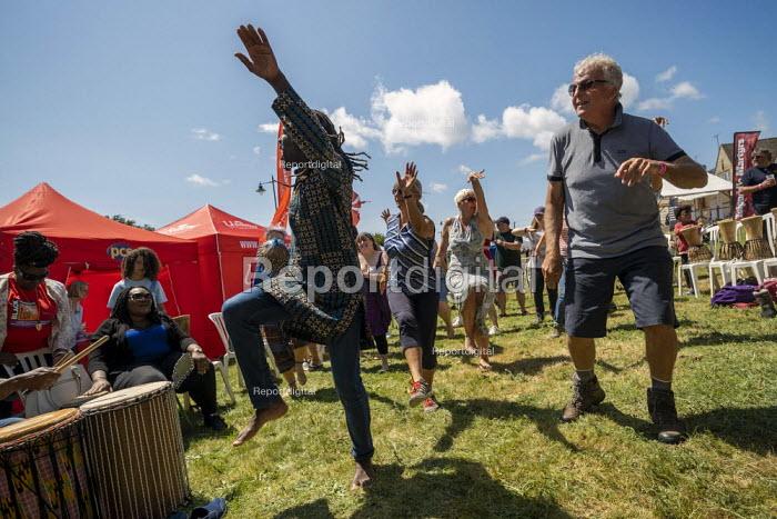 Unison dancing, Tolpuddle Martyrs Festival, Dorset. Passing PCS tents - Jess Hurd - 2019-07-21