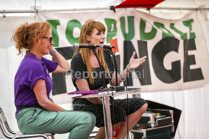 Angela Rayner MP in conversation with Joanne Kaye, UNISON, Tolpuddle Martyrs Festival, Dorset. - Jess Hurd - 2019-07-20